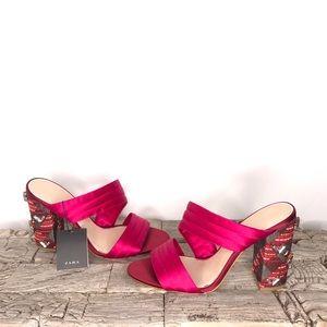 Zara Fuchsia Embellished Sandal Heels